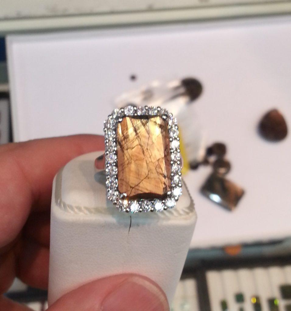 gold sheen sapphire ring