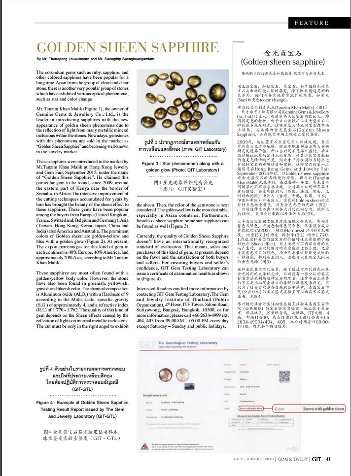 Gold Sheen Sapphire feature article in GIT Magazine