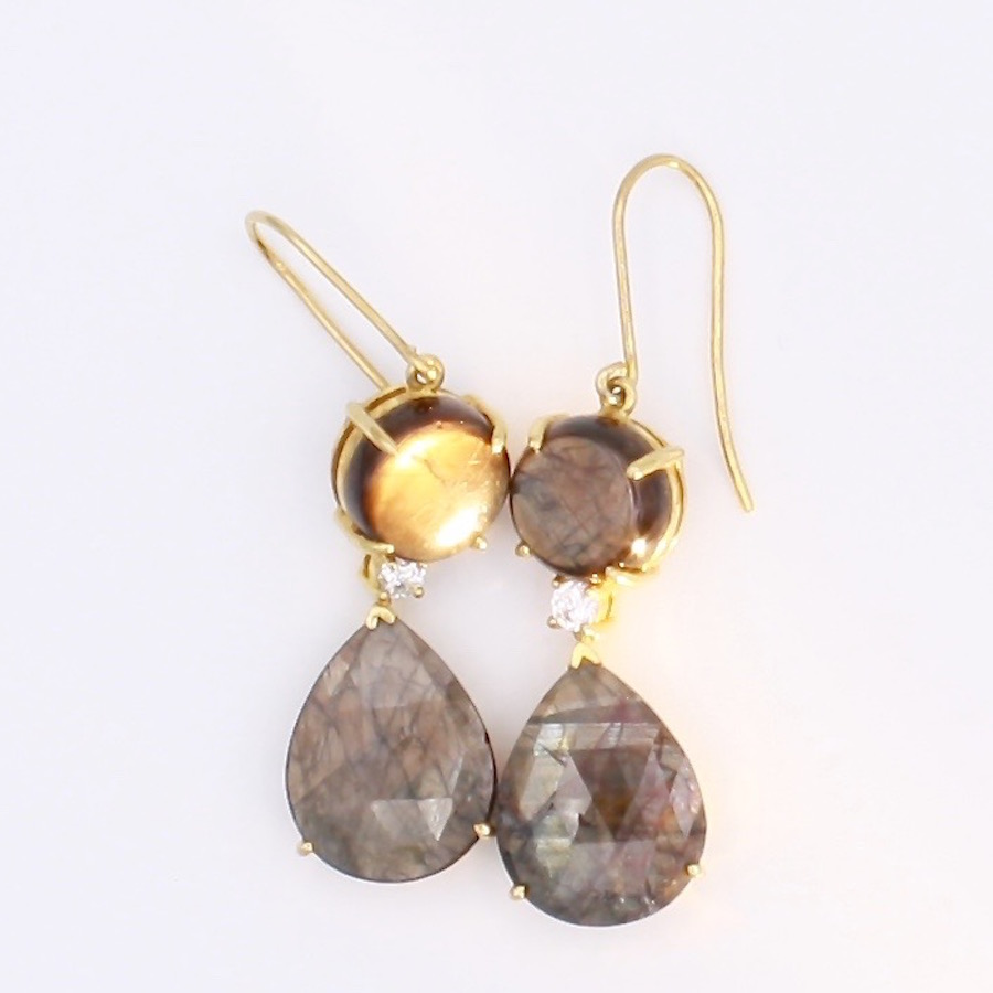 Gold Sheen Sapphire Earrings