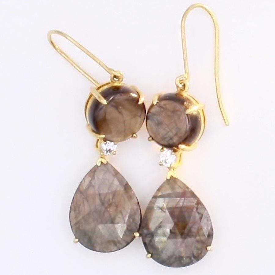 Gold Sheen Sapphire Earrings