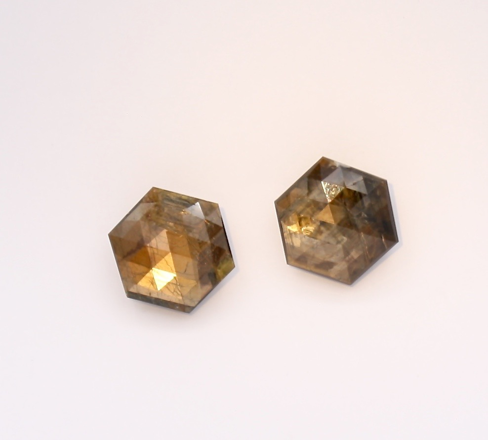 Gold Sheen Sapphire Gemstone Matched Pair