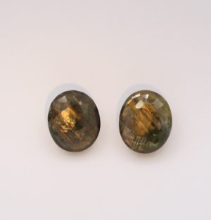 Gold Sheen Sapphire Gemstone Matched Pair