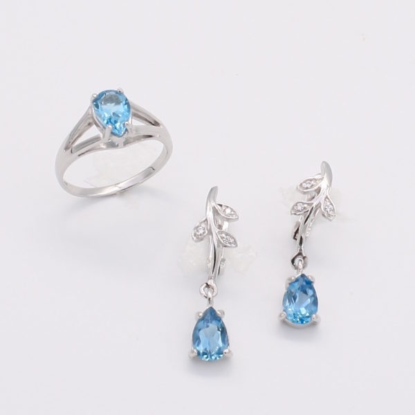 Topaz ring and earring set