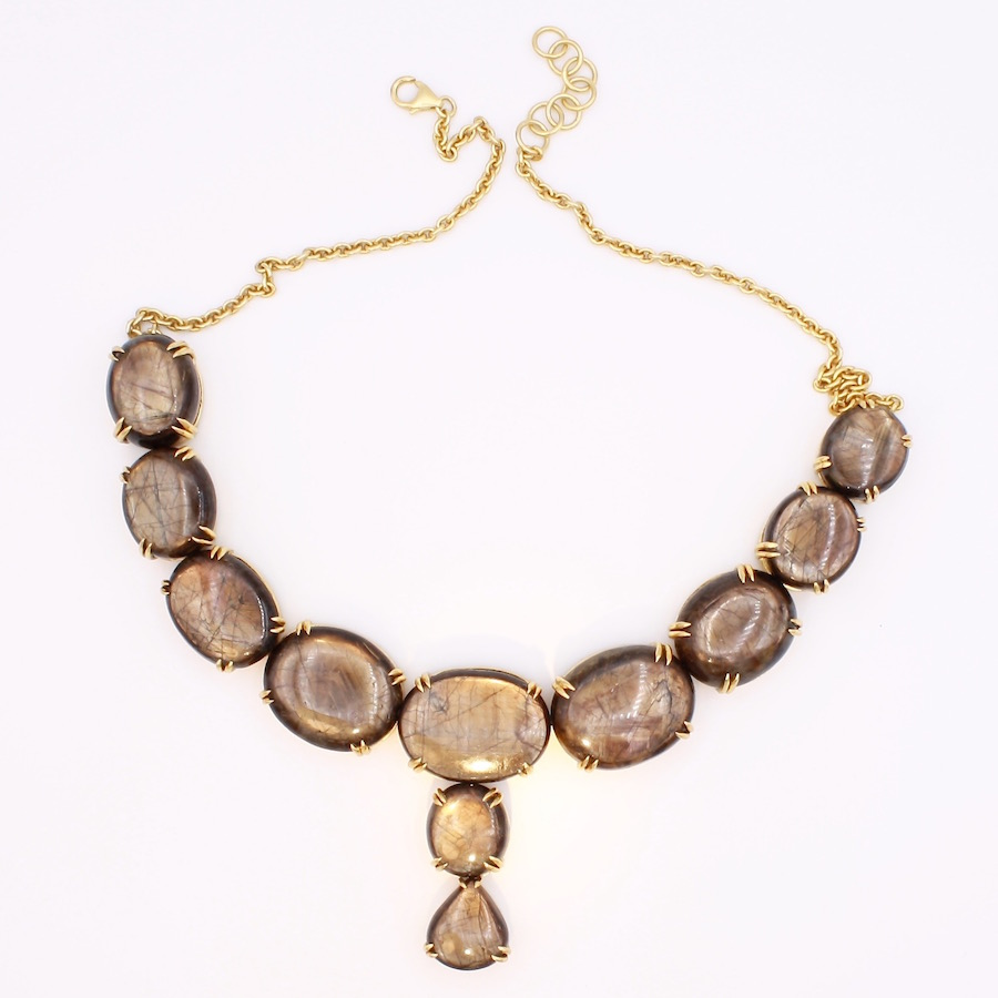 Gold Sheen Sapphire Necklace