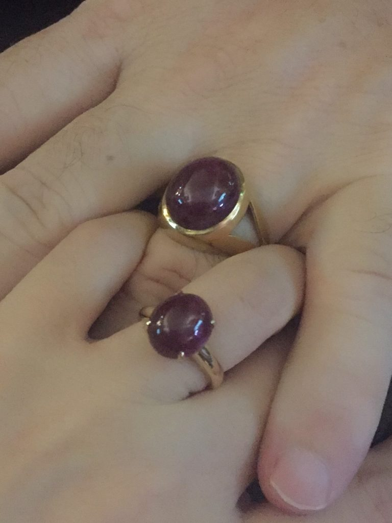 20ct and 10ct Mens and Womens Ruby Cabochon Rings