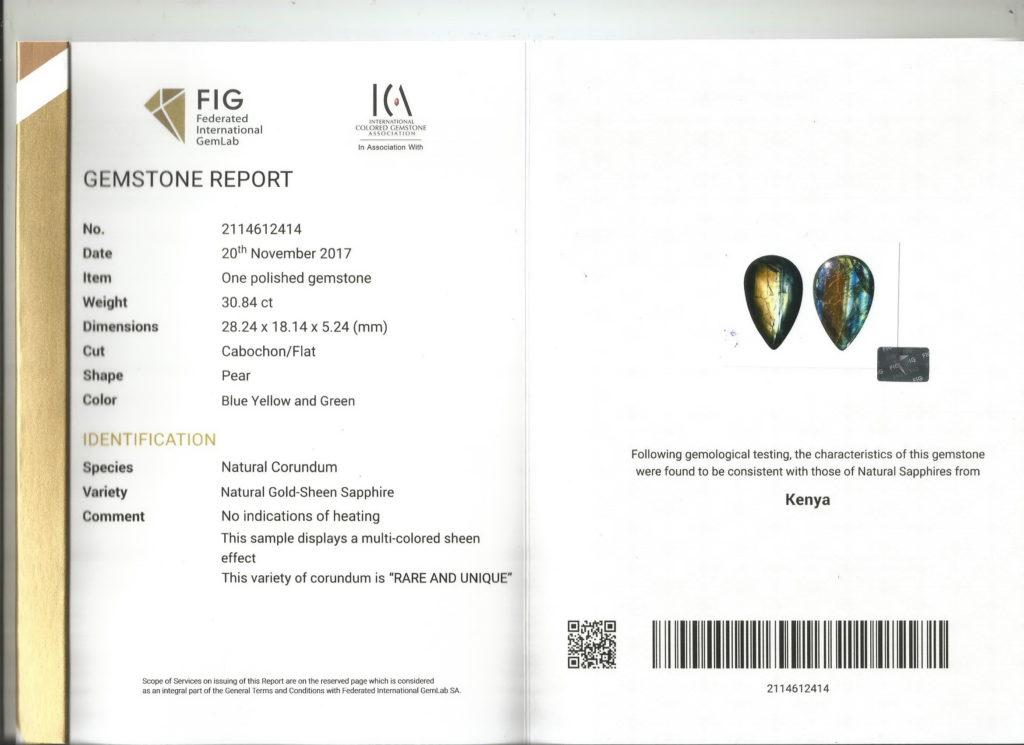Gold Sheen Sapphire Certificate