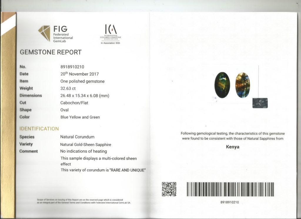 Gold Sheen Sapphire FIG Certificate No. 8918910210
