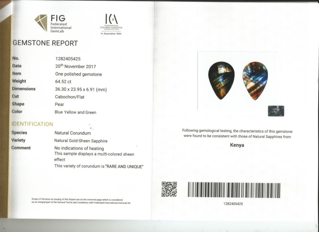Gold Sheen Sapphire FIG Certificate No. 1281405425