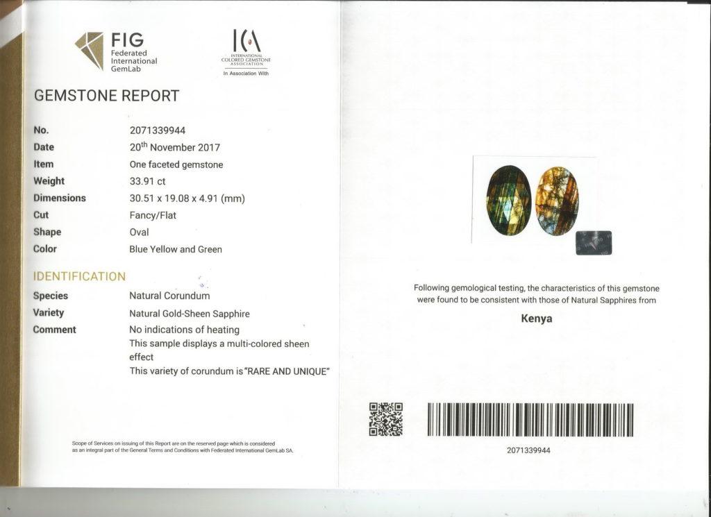 Gold Sheen Sapphire FIG Certificate No. 2071339944