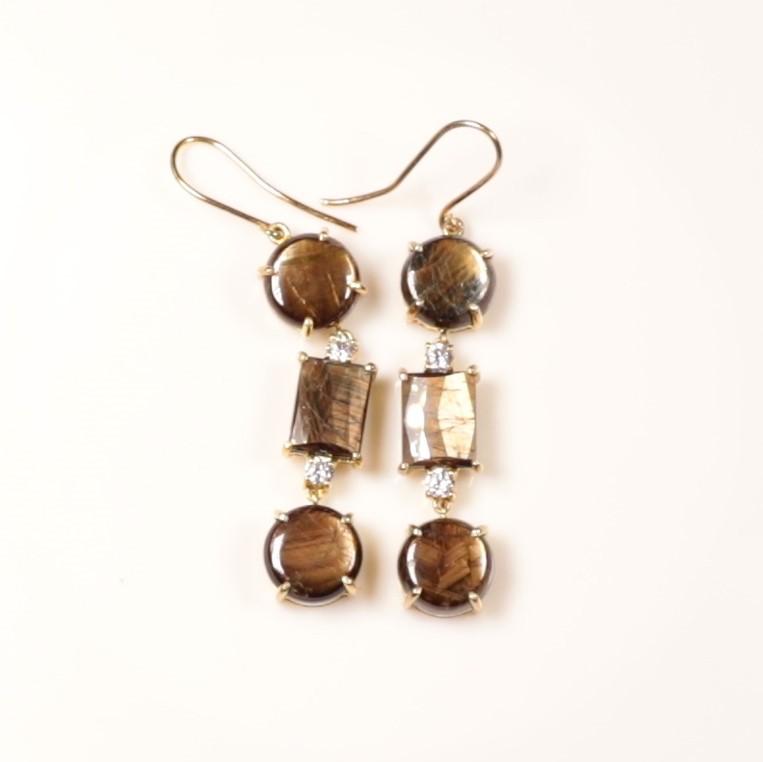 Gold Sheen Sapphire Earrings 50ct